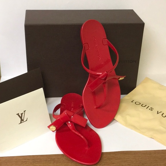 da715693ab0 Louis Vuitton Shoes - Louis Vuitton Red Seastar Flip Flop Sandals